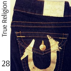 True Religion Low Rise Stretch Bootcut Jeans Gold